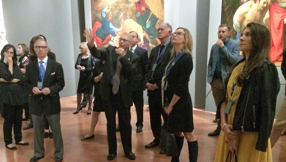Bill Cook lectures during our private visit to the Palazzo Strozzi exhibit featuring six important works restored by Friends of Florence.