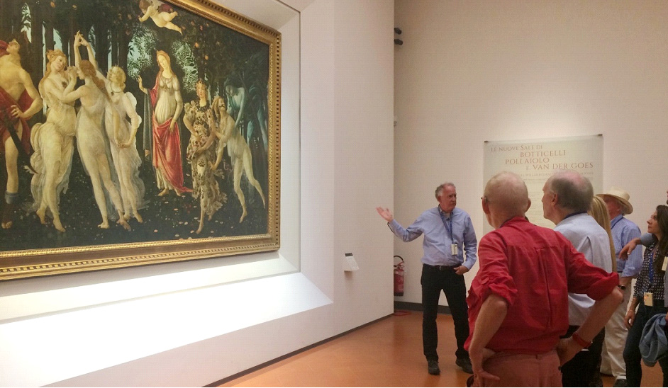 Bill Wallace lectures on the Primavera, in the Ufizzi's Botticelli rooms, newly restored by Friends of Florence.